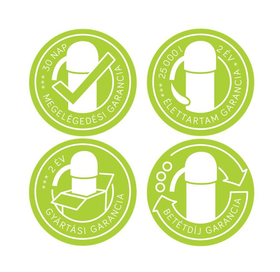 4 féle garancia víztisztító készülékeinkre